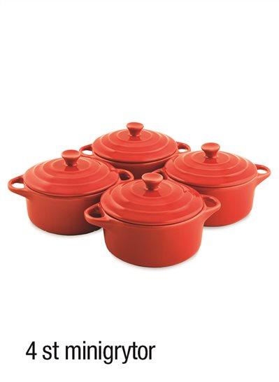 Röda minigrytor, 4-pack