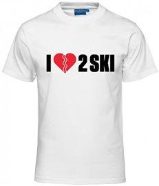 T-shirt - I love 2 ski (vit, herr)