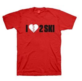 T-shirt - I love 2 ski (dam, röd)