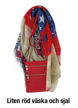 Liten röd väska med matchande sjal