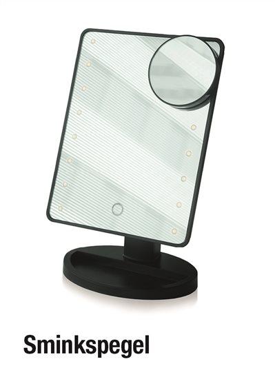 Spegel med ljus och förstoring
