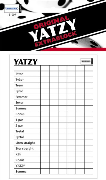 Extrablock till Yatzy Original