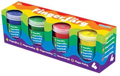 Fingerfärger, 4-pack burkar